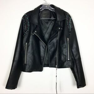 Blank NYC | Black  Studded Vegan Faux Leather Moto